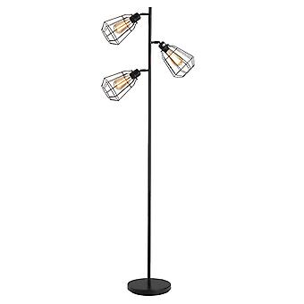 HOMCOM Retro Practical Tree Floor Lamp 3 Angle Adjustable Lampshade Steel Base for Living Room Bedroom Office Black 165cm