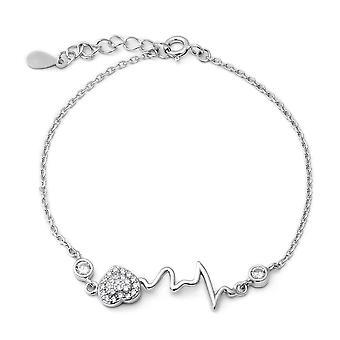 "ELANZA 0.66 Ct Cubic Zirconia CZ Charm Bracelet Sterling Silver Sz 6.5"" 1"""