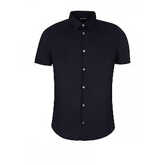 Emporio Armani 8n1c10 katoen gestikt Logo korte mouw Marine Shirt