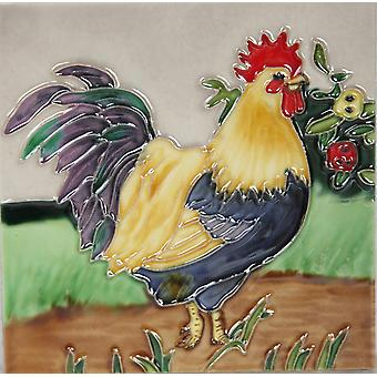"""YH Arts Ceramic Wall Art, Rooster Design 1 6 x 6"""""""