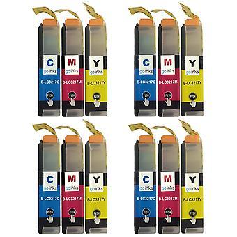 4 Sets von C/M/Y-Kartuschen, um Brother LC3217 Compatible/Non-OEM by Go Inks (12 Tinten) zu ersetzen
