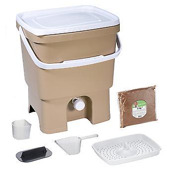 Skaza Bokashi Organko Küchenkompostbehälter aus recyceltem Kunststoff | 16 L| Starter Set für Küchenabfälle und Kompostierung | mit EM Bestreuung 1 kg |