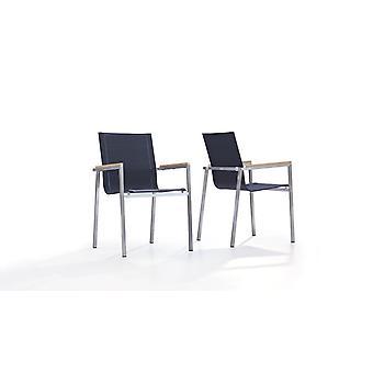 Acier inoxydable chaise Tex L, 2 pièces - noir