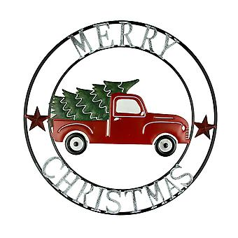 Metal Art Merry Christmas Vintage Truck and Tree Round Wall Hanging 22 inch