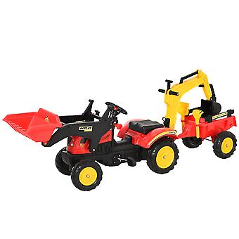 HOMCOM Kids Children Pedal Go Kart Ride On Toy Car Excavator Tractor w/ Moving Bucket Steering Wheel Removable Digger For 3 - 6 Years