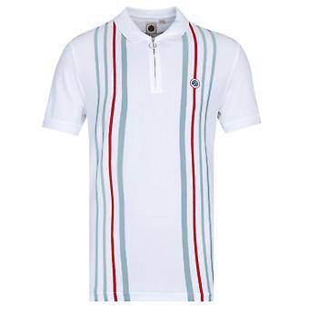 Mooie groene Colgate korte mouw witte polo shirt
