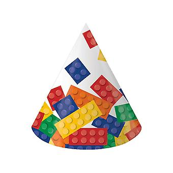 8 Premium Building Block Party Printed Card Cone Hats