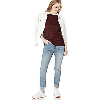 Brand - Daily Ritual Women's Lightweight Lived-In Cotton Short-Sleeve Drop-Shoulder Tunic, Maroon, X-Small