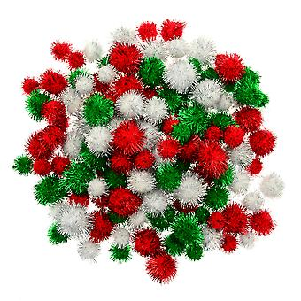 130 Assorted Large Christmas Tinsel Pom Poms - 25 to 40mm