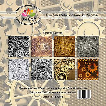 Dixi Craft 6x6 Inch Paper Pack Gears Achtergrond