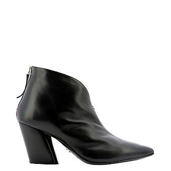 Halmanera Rose74nero Women's Black Leather Ankle Boots