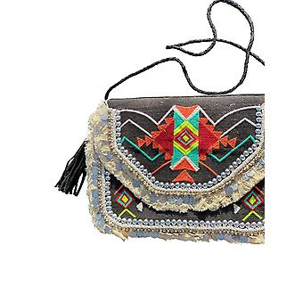 Spura Home Black Vintage Embroidered Tote Bag Purses Handbags- Adana