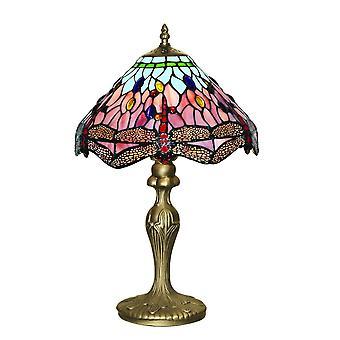 1 Lampe de table légère Antique Brass, Tiffany Glass, Rouge, Bleu, E27