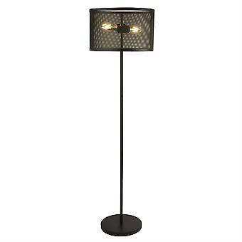 2 lichte vloerlamp mesh mat zwart, E27