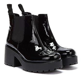 Vagabond Dioon Verni Leather Femmes Bottes Noires