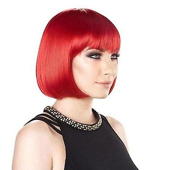 Party Wig - Bright Red - Short Bob Wig - Bright Colours