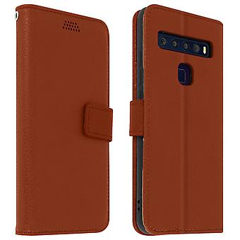 Flip wallet case, slim cover for TCL 10L, silicone shell - Brown