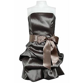 Strapless Iridescent Taffeta Dress With Bustled Hem