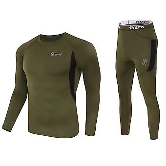 Tactical Outdoor Fleece T-shirty & Pants Set, Hiking Military Army Hunting Suit