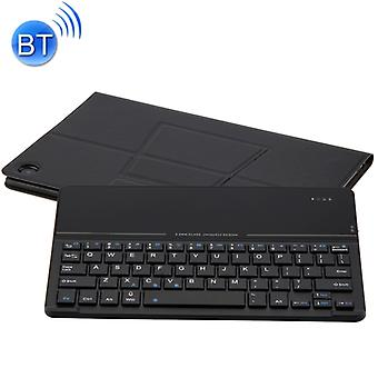 Detachable Magnetic Bluetooth Keyboard Ultrathin Toughened Glass Mirror Leather Case for Huawei MediaPad M5 10.8 inch, with Holder (Black)