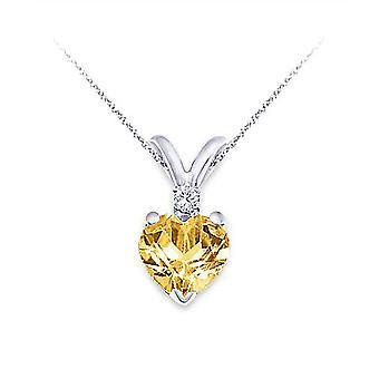 6MM Gul Citrin & 0,02 Karat Diamond Hjärta Hänge