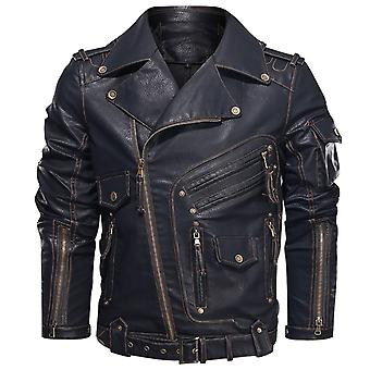 Winter Mens Leather Jacket - Pu Cool Zipper Pockets Coats