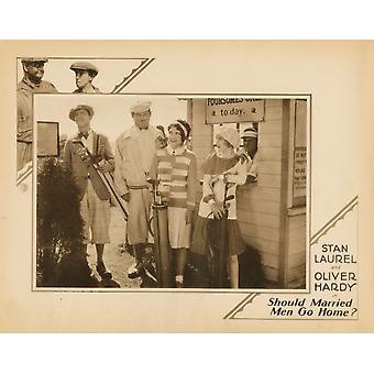 Uomini sposati va casa Lobbycard Inset da sinistra Stan Laurel Oliver Hardy Edna Marion Viola Richard 1928 Movie Poster stampa di alta qualità