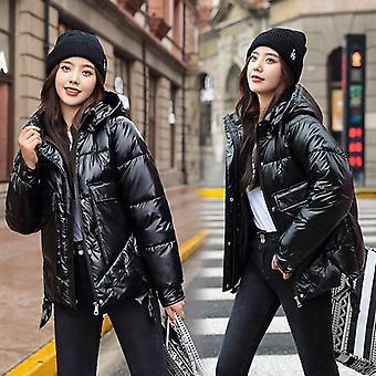 Χειμώνας σύντομη casual πυκνώνουν ζεστό κουκουλοφόρο windproof γυαλιστερά σακάκια τσέπης