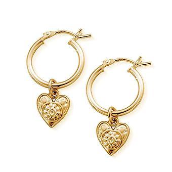 ChloBo GEH758 Women's Gold Tone Patterned Heart Hoop Brincos