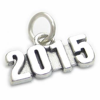 2015 Year Sterling Silver Charm .925 X 1 Wedding Birthday Graduation - 4010