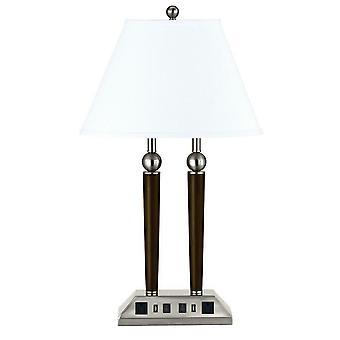 Lámpara de escritorio de metal 60W X 2 con sombra Empire y power strip, gris y marrón