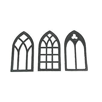 Set of 3 Black Cast Iron Gothic Cathedral Window Design Kitchen Trivets Decorative Wall Hangings
