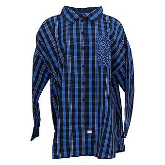 Isaac Mizrahi Live! Women's Top Plus Plaid Patch Pocket Blue A387797