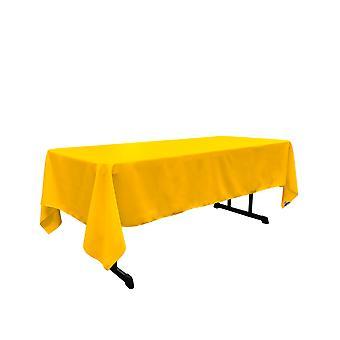 La Lino Poliéster Poplin Rectangular Mantel 60 Por 144 Pulgadas, Amarillo Oscuro