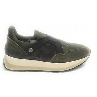 Vrouwen Sneaker Us Polo Slip Op Running Vivien Suede / Army Green Fabric D19up07