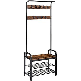 Gerui Coat Rack Stand, Industrial Coat Tree Shoe Bench with 9 Removable Hooks, Freestanding Hall Tree