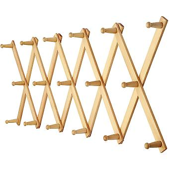 Gerui Accordian Wall Hanger: Wooden Coat Rack Wall Mounted, Hat Racks for Baseball Caps, Mug Rack, 17