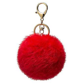 Faux kaninpäls pom pom charm nyckelring - röd, svart, kunglig blå, ljusrosa eller varmrosa