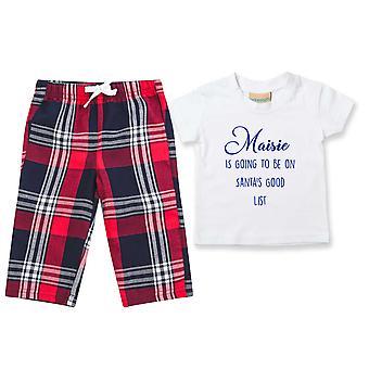 Çocuklar Kişiselleştirilmiş İyi Liste Tartan Pantolon Pijamaları