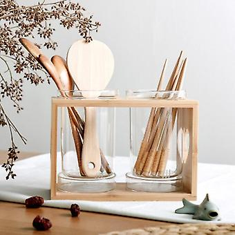 Nordic minimalistic style eco friendly glass and bamboo storage rack