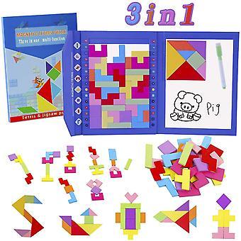 FengChun Holzpuzzles Tetris 47Stck Tangrams Puzzle Magnetisches Holz Montessori Spielzeug Entwicklung
