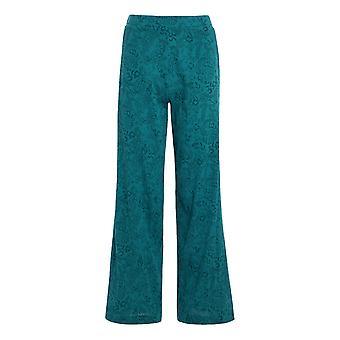 Lorena painettu juustoliina leveä jalka housut syvä sinivihreä
