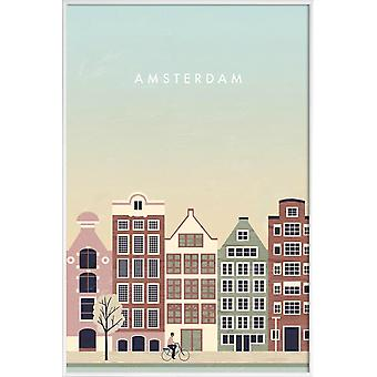 JUNIQE Print - Amsterdam - Vintage Travel Plakat i Brown