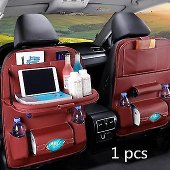 Pu Leather Pad Bag Car Seat Back Organizador Foldable Seat Storage Bag| Orden de estrado (Color café)