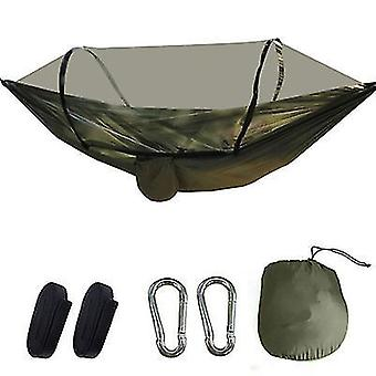 Dark green portable automatic quick opening camping pole mosquito net hammock x944