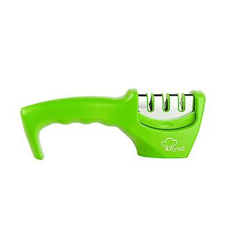 Green knife sharpener 3 stages professional kitchen tungsten sharpening stone az6827