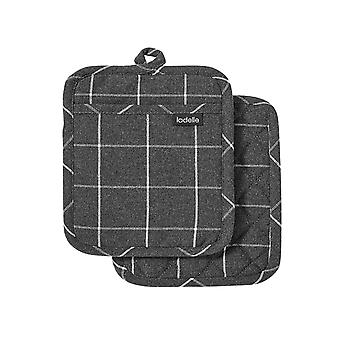 Ladelle Eco Check Set of 2 Pot Holders, Charcoal