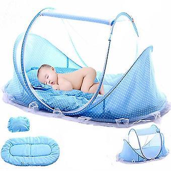 new blue 1 baby bedding crib netting folding baby mosquito nets sm20611