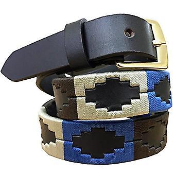 Carlos díaz premium de cuero marrón bordado diseñador flaco gaucho polo cinturón awo09893
