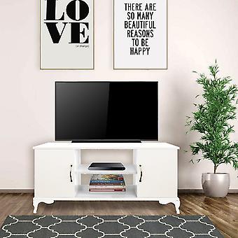 Menekse TV Türschrank, Farbe Weiß aus Melamin Hackschnitzel, Kunststoff, L111xP40xA57 cm